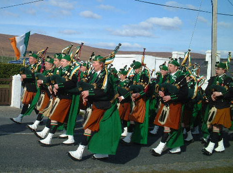 Dooagh Pipe Band in full stride