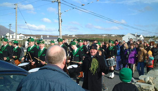 Marching band and man with shamrock